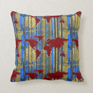 art maps & blue stripes throw pillow