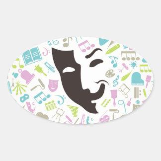 Art mask oval sticker