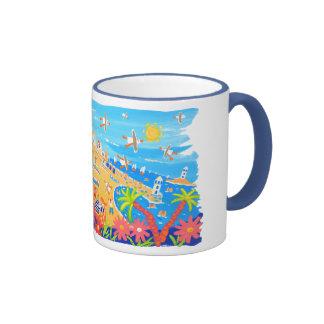Art Mug: Summertime Days, St Ives, Cornwall Ringer Coffee Mug