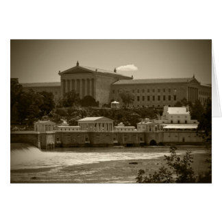 Art Museum & Waterworks - BW Stationery Note Card