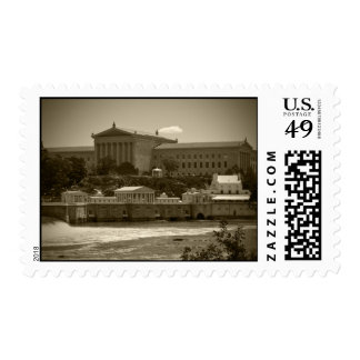 Art Museum & Waterworks - BW Postage Stamp