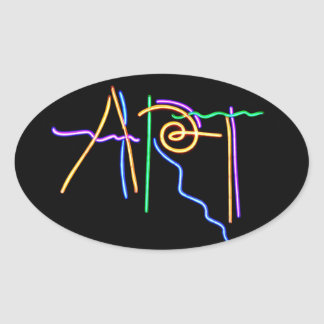 Art Neon Sign Oval Sticker
