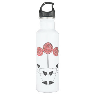 Art Nouvea Roses Emblem in Pinks and Grey Stainless Steel Water Bottle