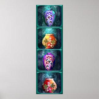Art Nouvea shadow box vases (long vertical) Poster