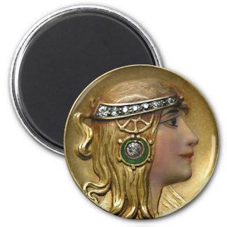 Art Nouveau 2 Inch Round Magnet