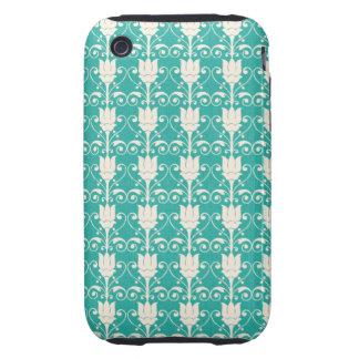 Art Nouveau Abstract Floral - Aqua iPhone 3 Tough Cover