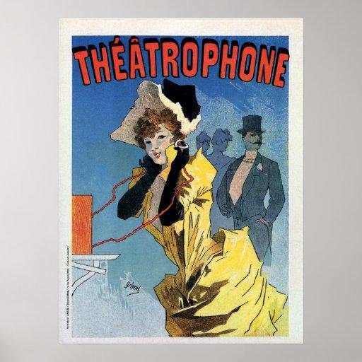 Art nouveau ad Théâtrophone theatre phone Poster