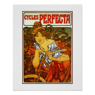 Art Nouveau Alfons Mucha, bicycles advertising Poster