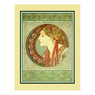 Art Nouveau Alfons Mucha, model Laurel Postcard