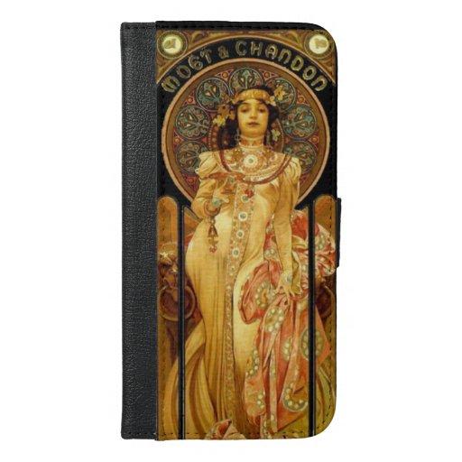 Art nouveau alphonse mucha champagne label iPhone 6/6s plus wallet case