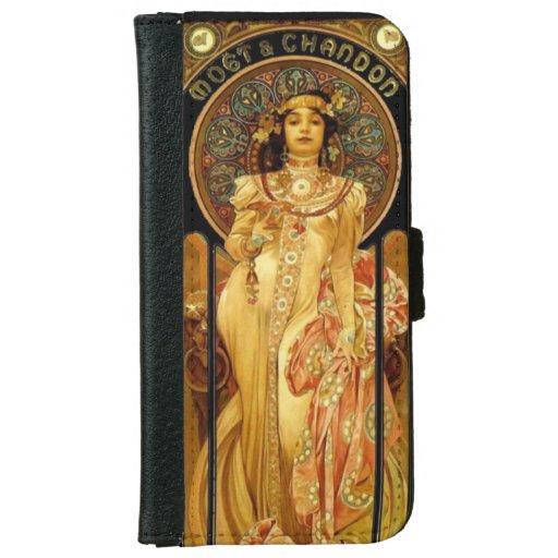 Art nouveau alphonse mucha champagne label iPhone 6/6s wallet case