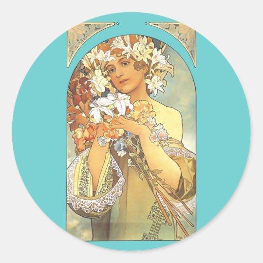 "Art Nouveau - Alphonse Mucha ""Flower"" Classic Round Sticker"