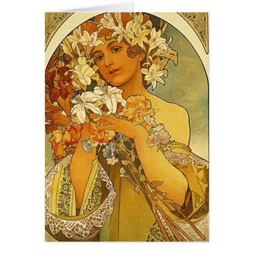 Art Nouveau Alphonse Mucha Flower Note Card