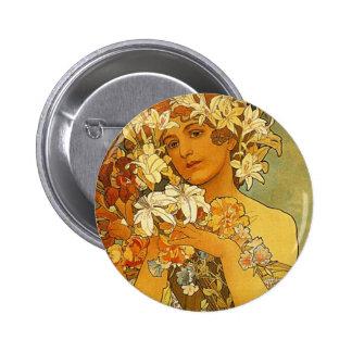 Art Nouveau Alphonse Mucha Flower Pinback Button