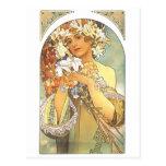 """Art Nouveau - Alphonse Mucha """"Flower"""" Postcard"""
