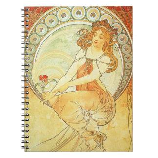 Art Nouveau Alphonse Mucha Lithograph notebook