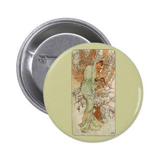 Art Nouveau - Alphonse Mucha - Winter Pinback Button