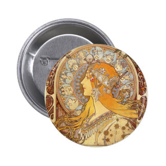 Art Nouveau Alphonse Mucha Zodiac Pinback Button