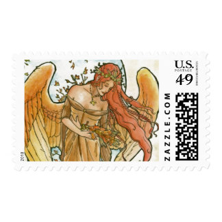 Art Nouveau Angel of Autumn Postage Stamps