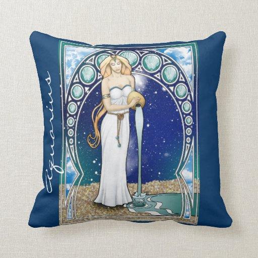Art Nouveau Aquarius Throw Pillow