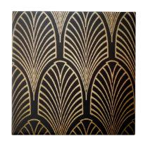 Art nouveau, art deco, fan pattern, bronze,gold,bl ceramic tile