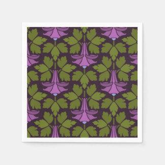 Art Nouveau Art Deco Purple Floral on Black Design Napkin