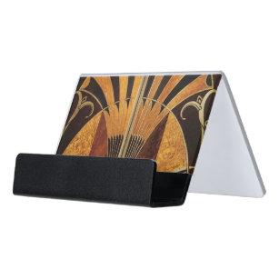 Multi coloured business card holders cases zazzle art nouveauart deco vintage multi wood colours desk business card holder reheart Gallery