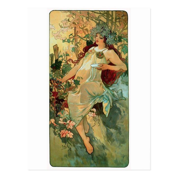 Art Nouveau ~ Autumn by Alphonse Mucha Postcard