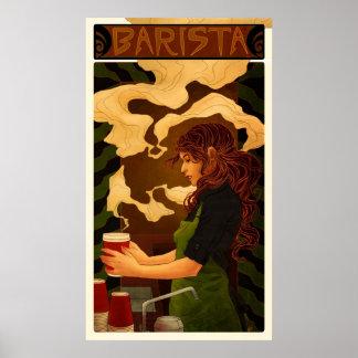 Art Nouveau Barista (poster/print) Poster