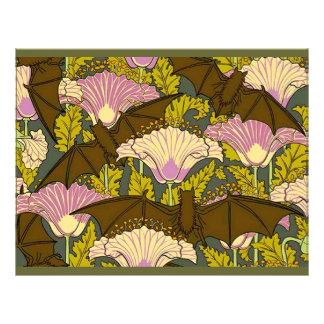 Art Nouveau Bats and Flowers Scrapbook Paper