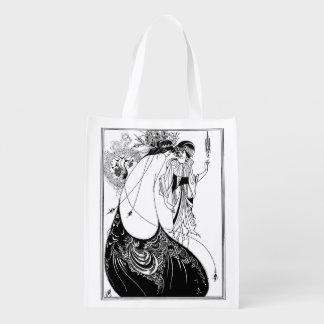 Art Nouveau Beardsley Peacock Skirt Reusable Grocery Bag