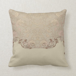 Art Nouveau Beige Tapestry Beige Print Throw Pillow