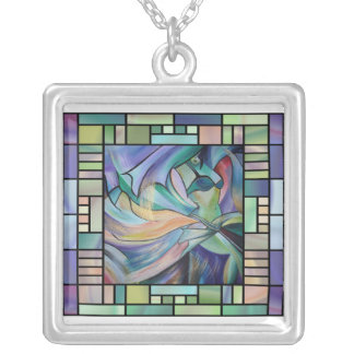 Art Nouveau Bellydance (Square) Silver Plated Necklace