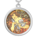 Art Nouveau Bicycle - Alphonse Mucha Personalized Necklace