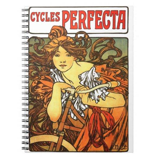 Art Nouveau Bicycle - Alphonse Mucha Notebook