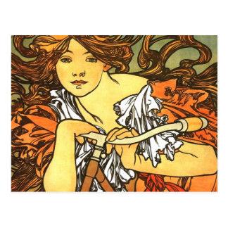 Art Nouveau Bicycle - Alphonse Mucha Postcard