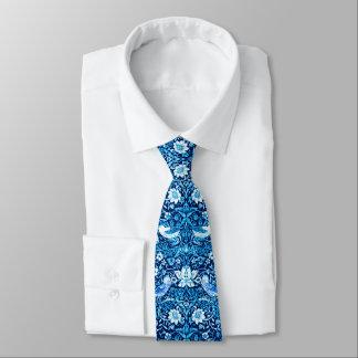 Art Nouveau Bird and Flower Tapestry, Dark Blue Neck Tie