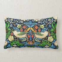 Art Nouveau Bird and Flower Tapestry Pattern Lumbar Pillow