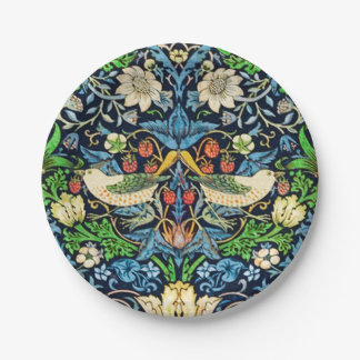 Art Nouveau Bird and Flower Tapestry Pattern Paper Plate