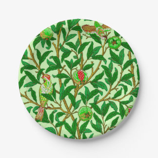 Art Nouveau Bird and Pomegranate, Lime Green Paper Plate