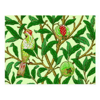 Art Nouveau Bird and Pomegranate, Lime Green Postcard