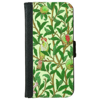 Art Nouveau Bird and Pomegranate, Lime Green Wallet Phone Case For iPhone 6/6s