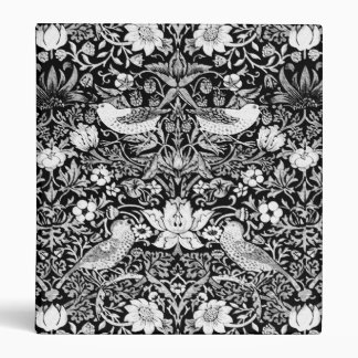 Art Nouveau Bird & Flower Tapestry, Black & White 3 Ring Binder
