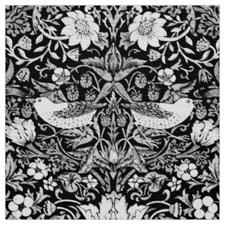Art Nouveau Bird &  Flower Tapestry, Black & White Fabric