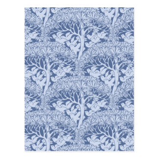 Art Nouveau Birds and Trees Pattern Postcard