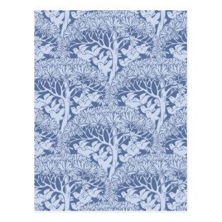 Art Nouveau Birds and Trees Pattern Postcard