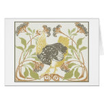 Art Nouveau Birds, Chickens, Rooster Illustration Card