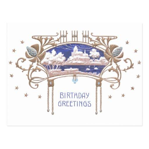 Art Nouveau Birthday Postcard
