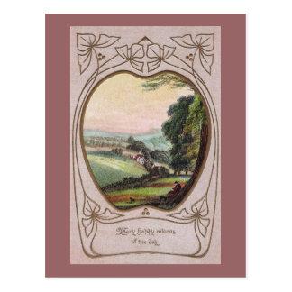 Art Nouveau Birthday Valley Vignette Postcard