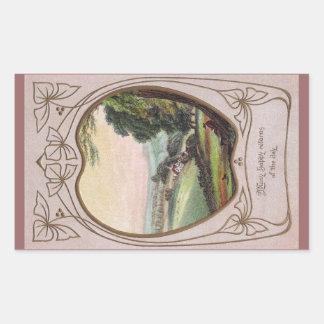 Art Nouveau Birthday Valley Vignette Rectangular Stickers